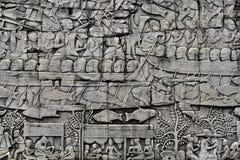 Pedra Bas Relief de Angkor Fotografia de Stock Royalty Free