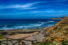 Pedra Branca Beach in Ericeira Portugal. Stock Image