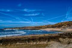 Pedra Branca Beach in Ericeira Portugal. Stock Photo