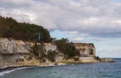 Pedra calcária e penhascos de giz de Stevns, Dinamarca Fotografia de Stock