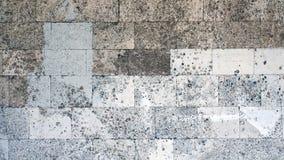 Pedra calcária fossilífera Parede de tijolo Fotos de Stock