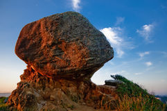 Pedra da Esfinge. Rock (called pedra da Esfinge in Portuguese) just before the sunset. Itanhaem city (Brazil Stock Photography