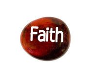 Pedra da fé isolada no branco Foto de Stock