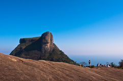 Pedra da Gavea Rock. Group of People Relax and Enjoy the View of Pedra da Gavea from Pedra Bonita in Rio de Janeiro, Brazil Royalty Free Stock Images