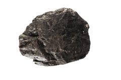Pedra de carvão no fundo isolado branco imagens de stock