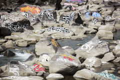 Pedra de mani do tibetano (pedra de Marnyi) Imagens de Stock