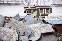 Pedra de mani do tibetano (pedra de Marnyi) foto de stock
