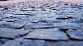 Pedra de pavimentação, pavimento, vista larga, vista de imagem de stock