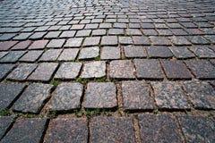 Pedra de pavimentação quadrada do granito com grama fotos de stock royalty free