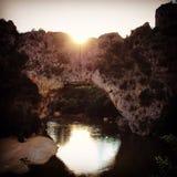 pedra do arco de Ardeche do por do sol natural Imagens de Stock