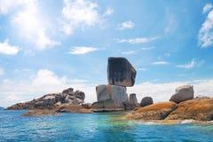Pedra do balanço. Tailândia, parque nacional Ta Ru Tao. Imagens de Stock