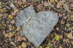 Pedra do coração com folha imagem de stock royalty free