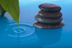 A água de pedra e a paz do zen plantam a folha Foto de Stock