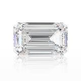 pedra esmeralda do diamante da ilustração 3D com reflexão Imagem de Stock Royalty Free