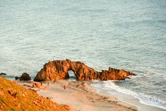 Pedra Furada. Pedra furado on Jericoacoara BRAZIL seen after sunrise Stock Images