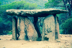 Pedra Gentil megalith. 4000 years old Pedra Gentil dolmen in Catalonia Royalty Free Stock Photography