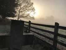 Pedra grave no alvorecer com fundo nevoento Foto de Stock Royalty Free