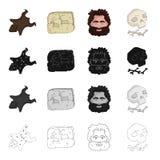 Pedra, idade, história, e o outro ícone da Web no estilo dos desenhos animados Ossos, crânio, barba, ícones do cabelo na coleção  Foto de Stock