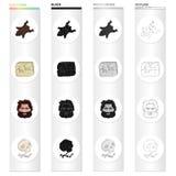 Pedra, idade, história, e o outro ícone da Web no estilo dos desenhos animados Ossos, crânio, barba, ícones do cabelo na coleção  Foto de Stock Royalty Free