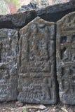 Pedra memorável da pedra de Sati da Índia fotografia de stock