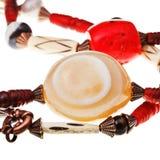 Pedra natural da ágata na corda de grânulos Imagem de Stock Royalty Free