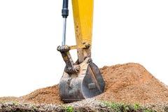 Pedra pesada do solo da escavação do grande backhoe Imagens de Stock