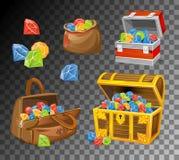 Pedra preciosa e grupo de caixas de cristal no fundo transparente Caixas do dinheiro dos desenhos animados para os jogos, os livr ilustração stock
