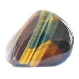 Pedra preciosa multicolorido do olho do tigre lustrado isolada no branco Fotografia de Stock Royalty Free