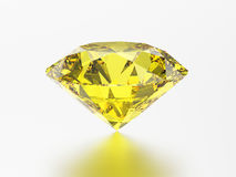 pedra preciosa redonda esmeralda do topázio do diamante do amarelo da ilustração 3D com Fotos de Stock