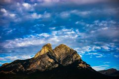 Pedraforca mont on cloudy day with high contrast colors royalty free stock photo