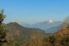 The Pedraforca snowed from Pedró de Tubau.  stock image