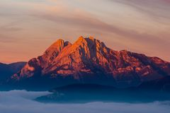 Emblematic mountain of Pedraforca with the first lights at dawn Stock Images