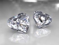 Pedras brilhantes do diamante da forma do coração Imagens de Stock