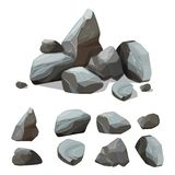 Pedras da montanha dos desenhos animados Parede grande rochosa do jogo da criação do vetor dos cascalhos e dos pedregulhos com vá ilustração royalty free
