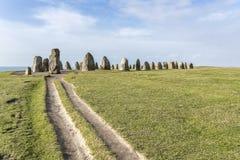 Pedras de Ales, monumento megalítico imponente em Skane, Suécia fotos de stock royalty free