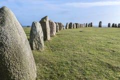 Pedras de Ales, monumento megalítico imponente em Skane, Suécia imagens de stock royalty free