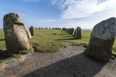 Pedras de Ales, monumento megalítico imponente em Skane, Suécia imagens de stock