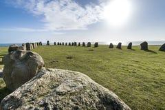 Pedras de Ales, monumento megalítico imponente em Skane, Suécia fotografia de stock