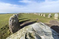 Pedras de Ales, monumento megalítico imponente em Skane, Suécia foto de stock royalty free