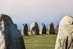 Pedras de Ales, monumento megalítico imponente em Skane, Suécia fotografia de stock royalty free