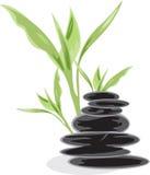 Pedras de bambu e pretas Imagens de Stock