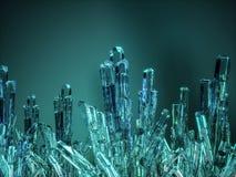 Pedras de cristal minerais, cor azul 3d rendem Fotografia de Stock