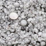 Pedras de granizo na terra após a chuva de granizo, saraiva do grande tamanho, saraiva feita sob medida com uma moeda maior fotos de stock royalty free