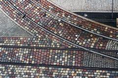Pedras de pavimentação do granito na rua Imagens de Stock Royalty Free