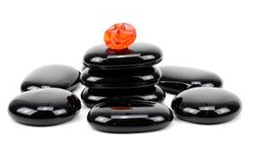 Pedras do basalto do zen isoladas no branco Imagem de Stock Royalty Free