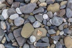 Pedras do rio na costa Fotografia de Stock