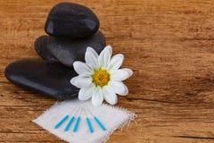 Pedras dos termas com agulhas da acupuntura foto de stock royalty free