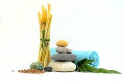 Pedras dos termas com bambu Imagens de Stock Royalty Free
