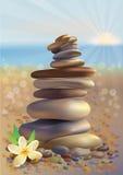 Pedras dos termas e flor branca Fotografia de Stock Royalty Free