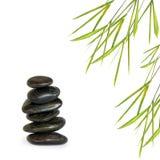 Pedras dos termas e grama de bambu da folha fotografia de stock